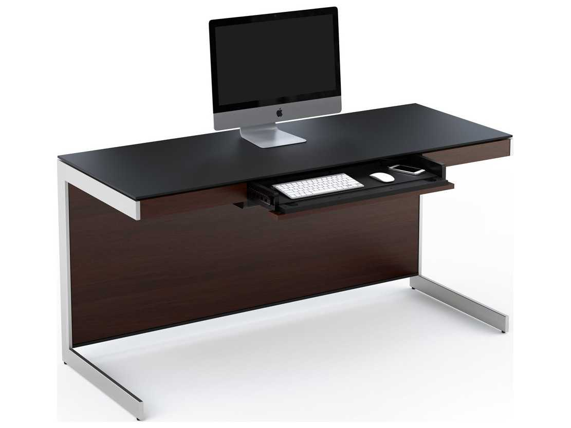 Bdi Sequel 60 X 24 Rectangular Chocolate Stained Walnut Computer Desk With Back Panel