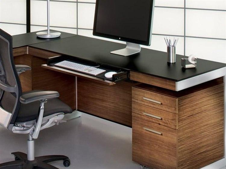 Bdi Sequel 60 X 24 Rectangular Natural Walnut Computer Desk With Back Panel