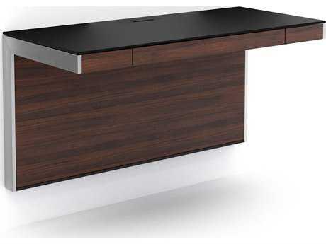 BDI Sequel 45'' x 20'' Rectangular Chocolate Stained Walnut Wall Mounted Computer Desk BDI6004CWL