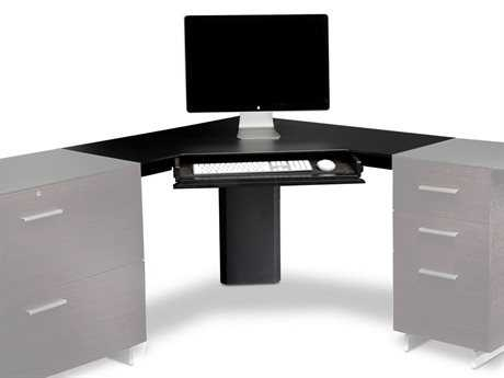 BDI Sequel 43'' Black Corner Computer Desk with Keyboard Drawer BDI6019