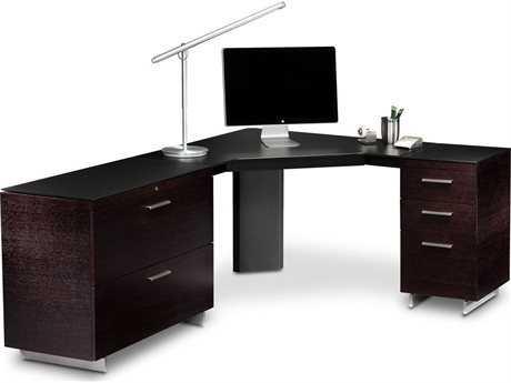 BDI Sequel 96'' x 43'' Black Corner Computer Desk with Keyboard Drawer BDI6019SET