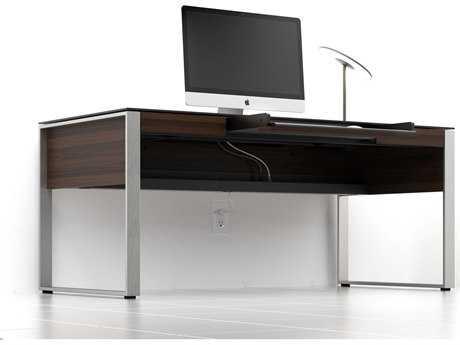 BDI Sequel 68'' x 32'' Rectangular Chocolate Stained Walnut Three Drawer Executive Computer Desk BDI6021CWL