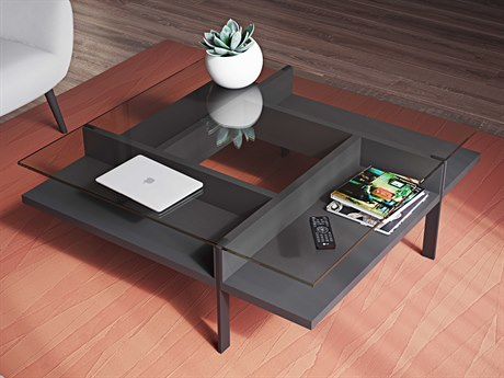 BDI Terrace Charcoal 44'' Square Coffee Table BDI1150CRL