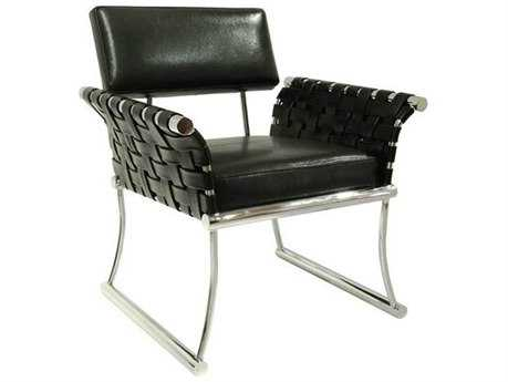 Bellini Nyla Black with Polished Stainless Steel Accent Chair BLNYLABLK