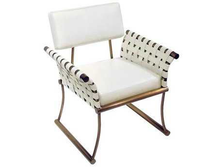 Bellini Nyla White with Champagne Stainless Steel Accent Chair BLNYLAWHT