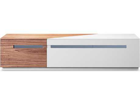 Bellini Rico White High Gloss with Walnut 71''L x 16''W TV Stand BLRICOTVSTAND
