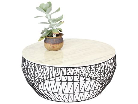 Bend Goods Outdoor White Marble / Black 36'' Wide Round Coffee Table BOO36COFFEETABLEBLK36MARBLETOPWH