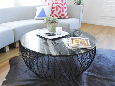 Bend Goods Black Marble / Black 36'' Wide Round Coffee Table BND36COFFEETABLEBLK36MARBLETOPBLK