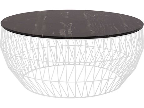 Bend Goods Outdoor Black Marble / White 36'' Wide Round Coffee Table BOO36COFFEETABLEWH36MARBLETOPBLK