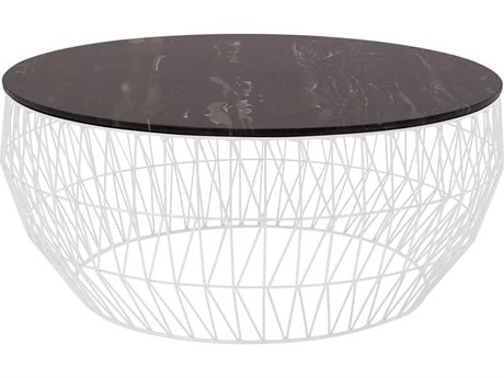 Bend Goods 36'' Wide Round Coffee Table BND36COFFEETABLEWH36MARBLETOPBLK