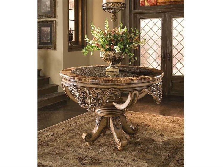 Benetti S Italia Dynasty 56 Wide Foyer Table With Bamboo Ring Top Bfdynastyfoyertablewithbambooringstop