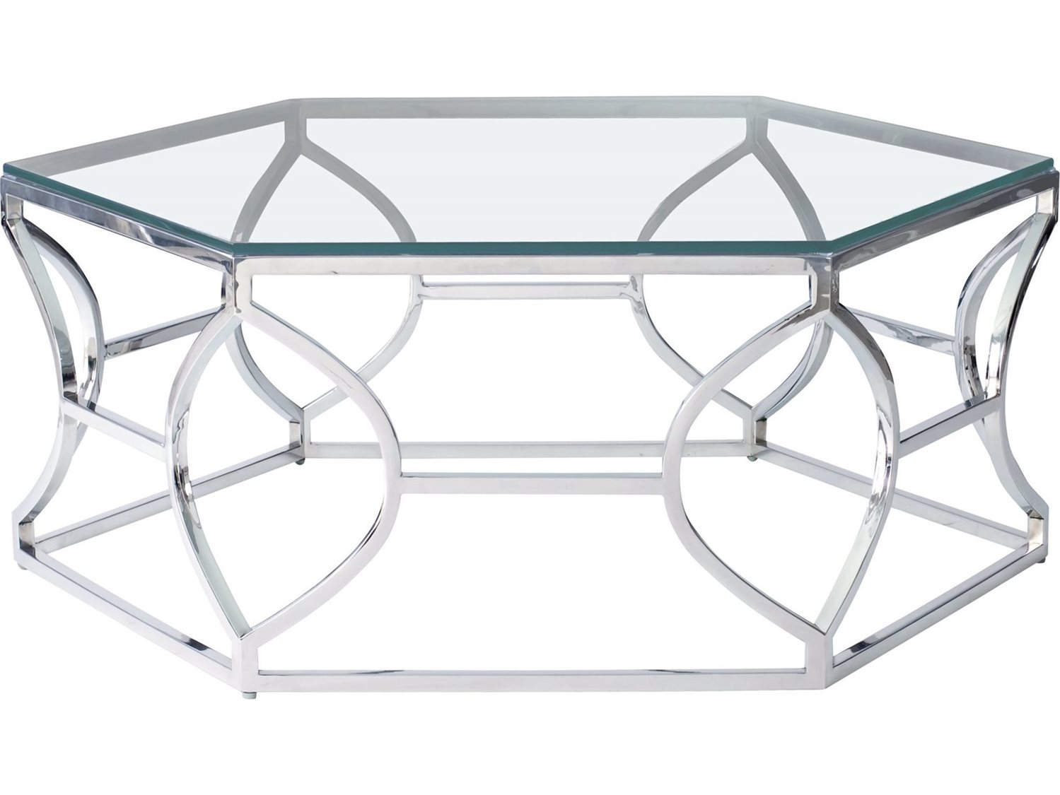 - Bernhardt Argent Silver 46'' Wide Hexagon Coffee Table BH326021