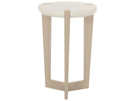 Bernhardt Axiom Linear Gray / White Linen Plaster 16'' Wide Round Drum Table