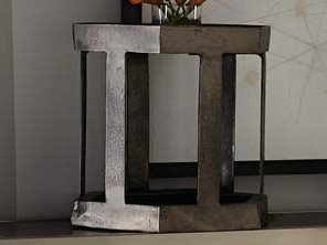 Bernhardt Benson Black Nickel 21 Wide Hexagon End Table Bh438123