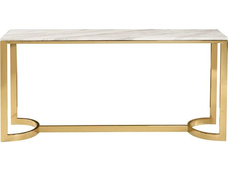 Bernhardt Blanchard Polished Brass with Jazz White Marble Rectangular Console Table