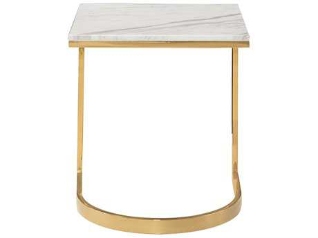 Bernhardt Blanchard Polished Brass with Jazz White Marble Square End Table BH471121