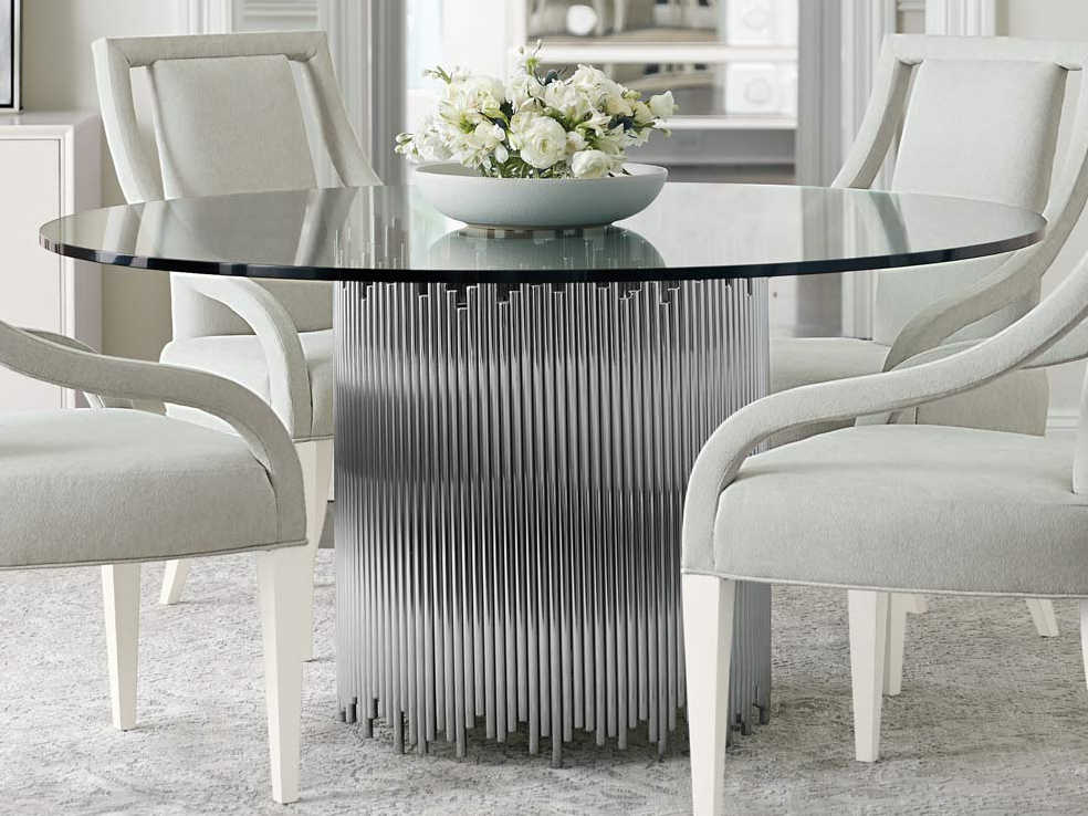 Bernhardt Calista Polished Nickel, 60 Round Glass Dining Room Table