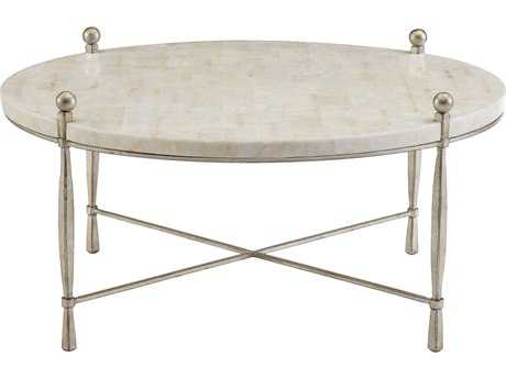 Bernhardt Clarion White & Champagne Silver Round Coffee Table BH563015