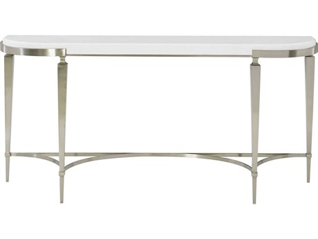 Bernhardt Domaine Blanc White / Tarnished Nickel 67'' Wide Demilune Console Table