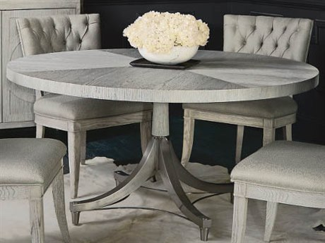 Bernhardt Domaine Blanc Dove White / Tarnished Nickel 60'' Wide Round Dining Table BH374274T