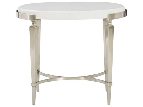 Bernhardt Domaine Blanc Dove White 29'' Wide Oval End Table