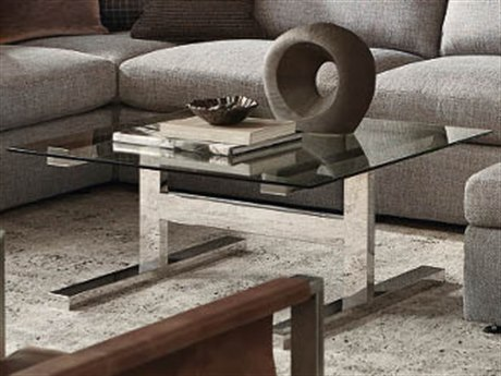 Bernhardt Freestanding Occasional Silver / Clear 40'' Wide Square Coffee Table BH447011T