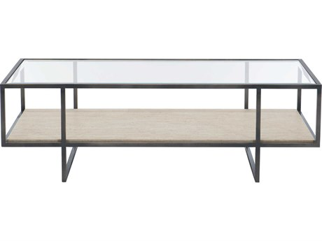 Bernhardt Freestanding Occasional Bronze / White Travertine Stone Clear 54'' Wide Rectangular Coffee Table
