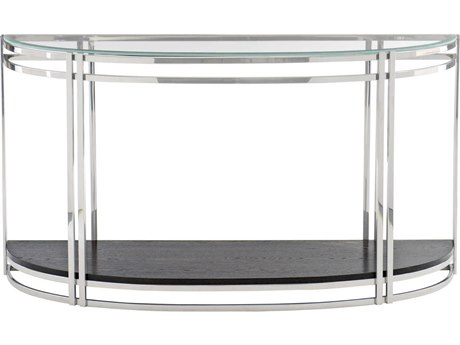Bernhardt Freestanding Occasional Chrome / Cerused Mink 56'' Wide Demilune Console Table BH441911