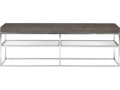 Bernhardt Freestanding Occasional Weathered Charcoal / Chrome Clear 72'' Wide Rectangular Console Table BH491911