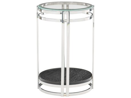 Bernhardt Freestanding Occasional Chrome / Cerused Mink 16'' Wide Round Drum Table BH441101