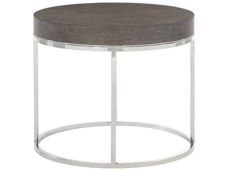 Bernhardt Freestanding Occasional Weathered Charcoal / Chrome 28'' Wide Round Drum Table