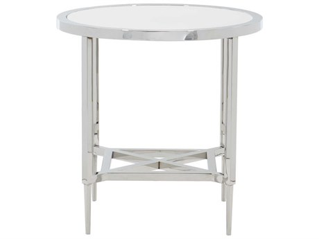 Bernhardt Freestanding Occasional Silver / Clear 24'' Wide Round End Table
