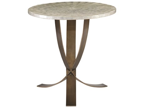 Bernhardt Interiors Natural Capiz / Bronze 26'' Wide Round Pedestal Table
