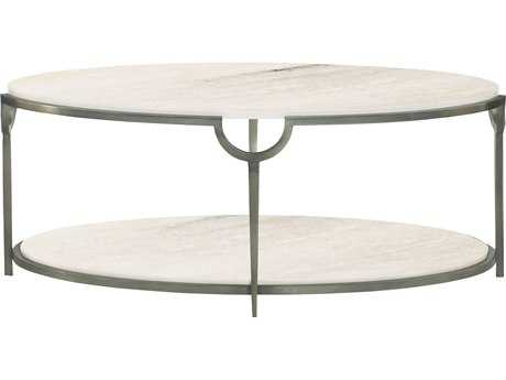 Bernhardt Morello Faux Carrar Marble with Oxidized Nickel Oval Coffee Table BH469013
