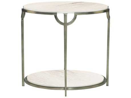 Bernhardt Morello Faux Carrar Marble with Oxidized Nickel Oval End Table BH469113