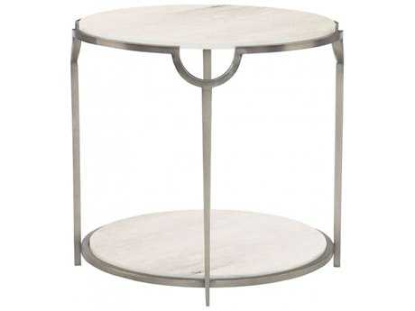 Bernhardt Morello Faux Carrar Marble with Oxidized Nickel Round End Table