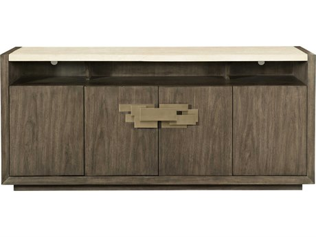 Bernhardt Profile Warm Taupe / Taspestry Gold Travertine Stone Buffet BH378132