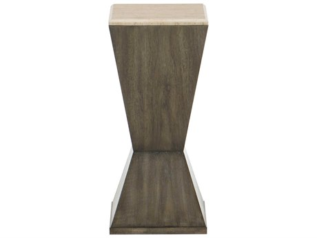 Bernhardt Profile Warm Taupe / Travertine Stone 10'' Wide Square Pedestal Table BH378128