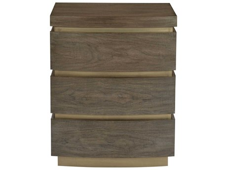 Bernhardt Profile Warm Taupe / Tapestry Gold 3 Drawers Nightstand BH378216