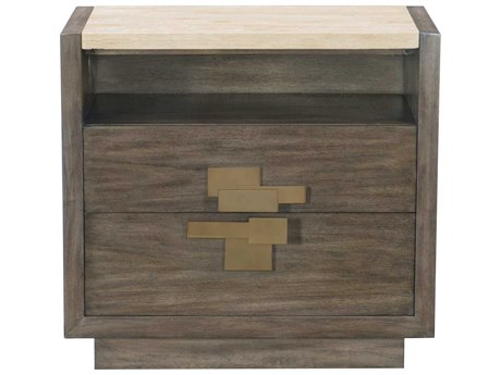 Bernhardt Profile Warm Taupe / Tapestry Gold Travertine Stone 2 Drawers Nightstand BH378228