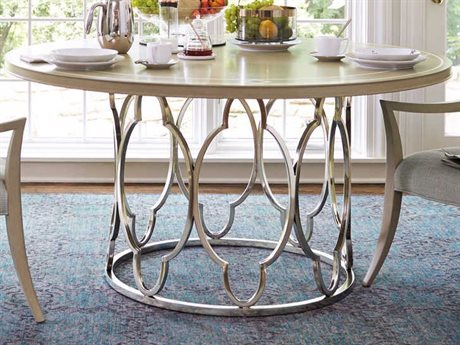Bernhardt Savoy Place Chanterelle / Radiant Silver 60'' Wide Round Dining Table BH371272T