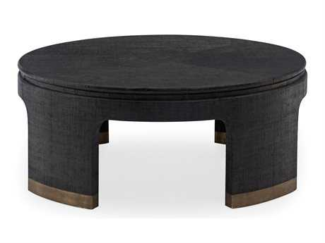 Bernhardt Dubois Black, Antique Satin Gold Round Coffee Table BH421015
