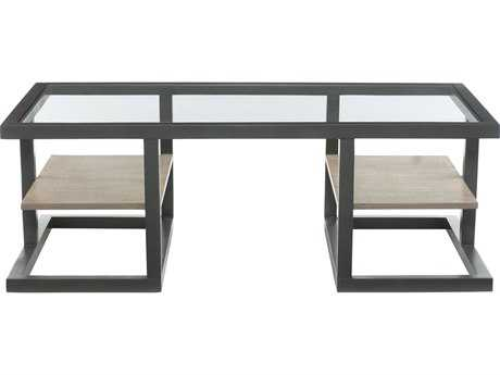 Bernhardt Wheeler Natural & Black Rectangular Coffee Table