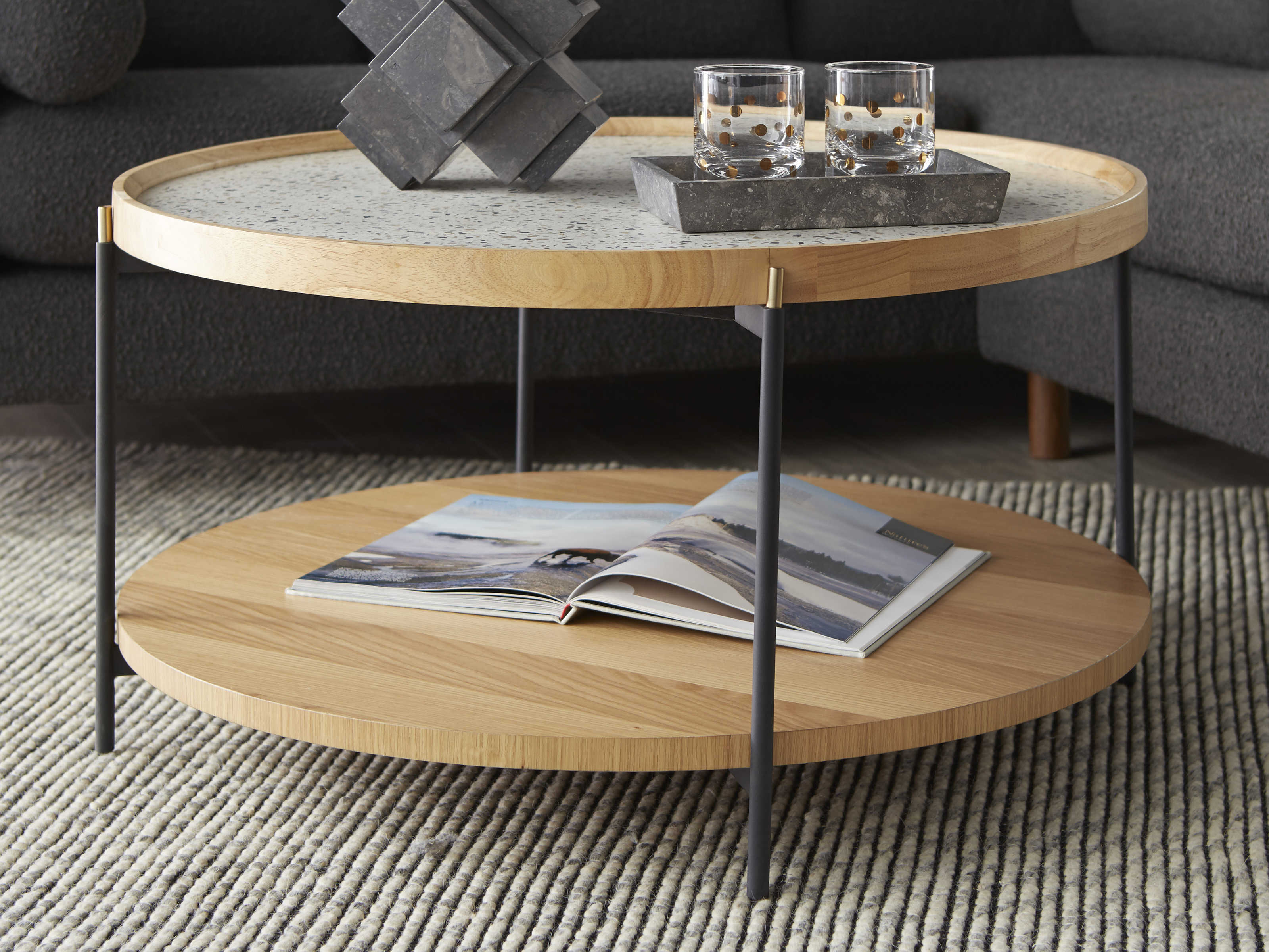 Bobby Berk For A R T Furniture Natural 36 Wide Round Coffee Table Bbb2393022301 [ 2400 x 3200 Pixel ]