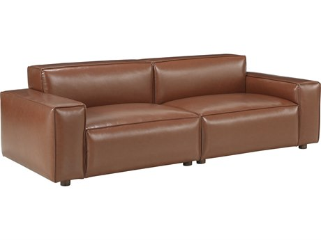 Bobby Berk for A.R.T Furniture Walnut / Camel Sofa Couch