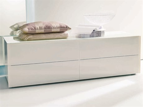 Bontempi Enea White Tempered Lacquered Glass Double Dresser BON03.91C163