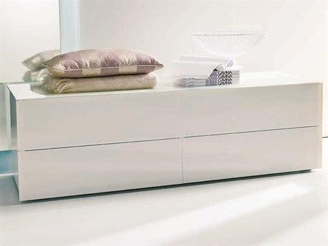 Bontempi Enea White Tempered Lacquered Glass Double Dresser