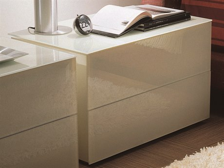 Bontempi Enea White Tempered Lacquered Glass Rectangular 2 Drawer Nightstand BON03.87C163