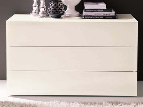 Bontempi Enea White Tempered Lacquered Glass Rectangular 3 Drawer Nightstand BON03.89C163