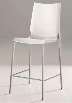 Bontempi Eva Aluminium / White Side Bar Height Stool BON4034M089Z031